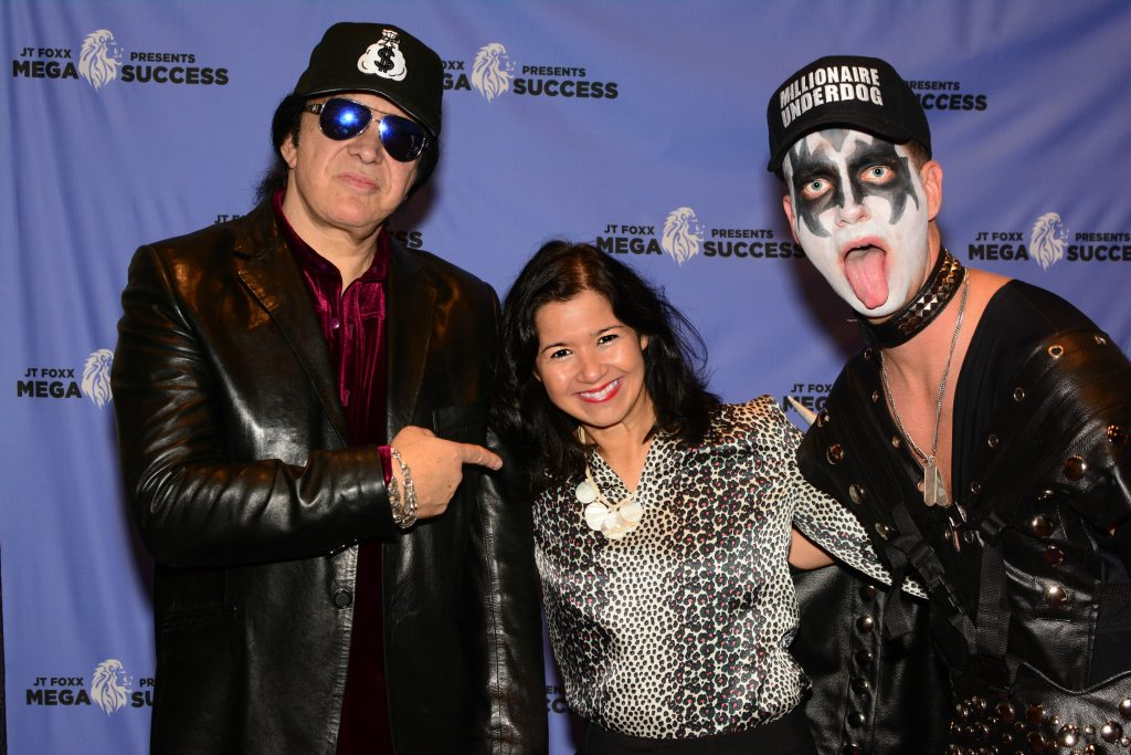 Sandra Fisser with Gene Simmons, singer, record producer and entrepreneur